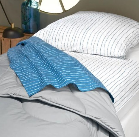 nightbag coton fin bi faces bleu blanc perle