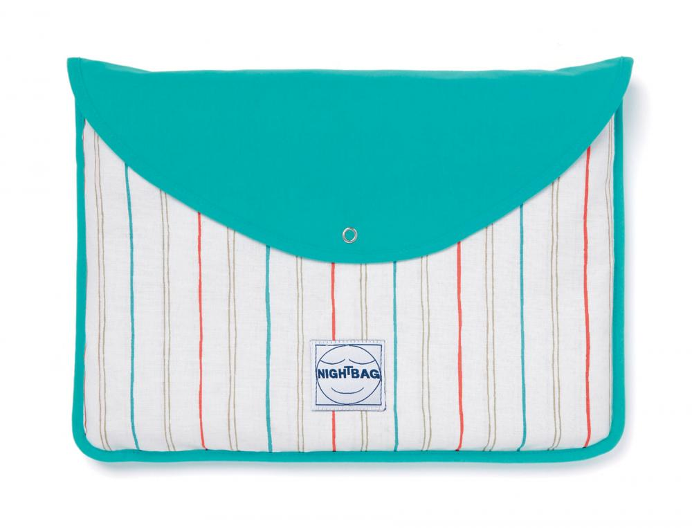 linge de lit nightbag bi faces rayures et emeraude